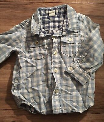 Baby Gap Boys Long Sleeve Button Up Shirt Size 18-24 Months Blue White