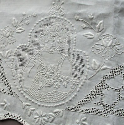 2 Vintage APPENZELL Hand Embroidered LINEN Hand Towels LADIES w FLOWERS * As Is
