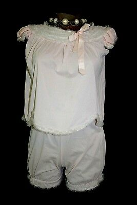 Vintage 50s HER MAJESTY Pink 2-pc Babydoll Nightgown Top Panties 10 XS