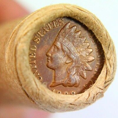 1908 Full Liberty Indian Cent On End of 50 Coin Wheat Roll 1371