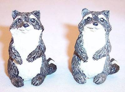 """Pair of Small 1-1/2"""" Tall Resin Sitting Raccoon Figurines"""