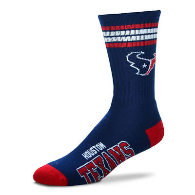 Houston Texans Adult 4 Stripe Deuce Team Color Socks-1pair-Large New Free S/H
