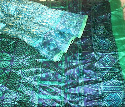 SILK BLEND Antique Vintage Sari Saree Fabric Material 4yd Z18 Cream Green #,AOP2