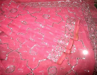 Antique Vintage Sari Saree EMBROIDERED OLD RARE 4Y  Z18 Pink Sequins Zari #,AP8R