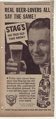 1940 newspaper ad for Stag Beer - Real Beer Lovers All Say The Same True Brew