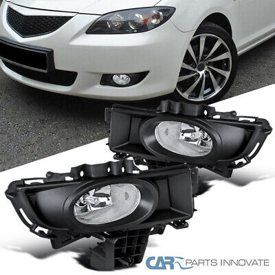 07-09 Mazda 3 Sedan 4Dr Replacement Clear Fog Lights Driving Bumper Lamps+Switch