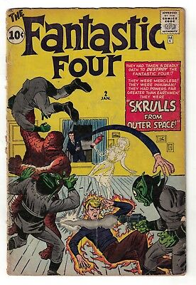 Marvel Comics FANTASTIC FOUR 2 Super Skrull 1st appearance 1963 2.0 Good