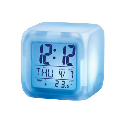Color-changing Digital Alarm Clock, White, by Collections Etc