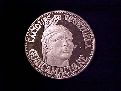 Venezuela 5 Bolivares Caciques Indian Chiefs 1 Ounce Pure Silver Proof (1962)