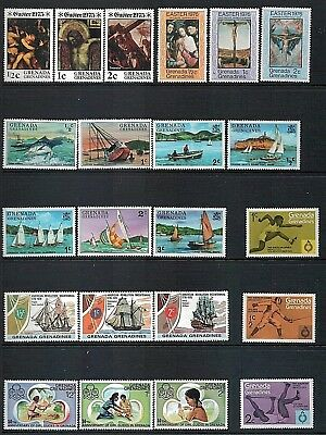 GRENADA GRENADINES - Mixed lot of 22 Stamps, MNH Easter Boats Girl Guides etc