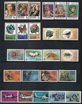 GRENADA GRENADINES - Mixed lot of 24 Stamps, MNH Christmas Art Nature Planes etc