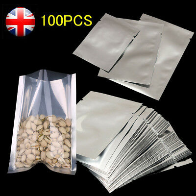 🔥 100× Mylar Foil Bags Aluminium Sachet Pouch With Heat Seal Food Grade Bags