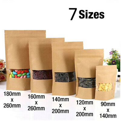Resealable Zip Lock Kraft Paper Foil Bag Pouch Stand Up Heat Seal Food Grade UK