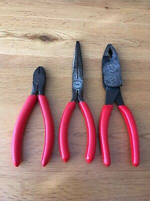 Snap On Plier Set. High Leverage / Long Nose / Side Cutters. HL138ACP / 97COP /