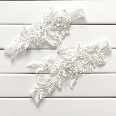 2pcs Flower Wedding Hen Party Bride To Be Lace Bridal Garter Legs Ring Accessory