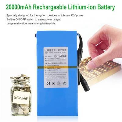 20000mAh Li-ion DC 12V Super Rechargeable Portable Battery Pack w/ Power Charger