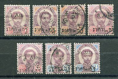 Thailand 1894-99 group of att surcharges mostly used