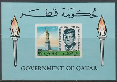 Qatar 1966 ** Bl.13 new currency surcharge, Kennedy JFK