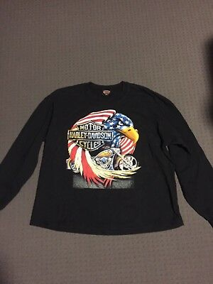 "harley davidson vintage tshirt black long sleeve eagle xl 1980""s"