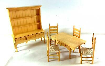 Melody Jane Dolls House Light Oak Country Dining Room Furniture Set 1:12 Scale