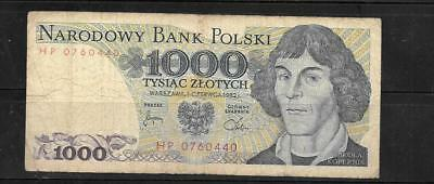 POLAND #146C 1982 VERY good CIRCULATED 1000 ZLOTYCH OLD BANKNOTE PAPER MONEY