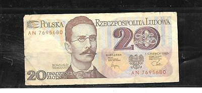 POLAND #149a 1982 VERY GOOD CIRCulated 20 ZLOTYCH OLD BANKNOTE PAPER MONEY BILL