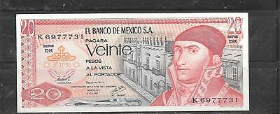 MEXICO MEXICAN #64d 1977 VF used 20 PESO BANKNOTE PAPER MONEY CURRENCY BILL NOTE