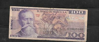 Mexico Mexican #68C 1979 100 Peso Used Circ Old Banknote Paper Money Currency