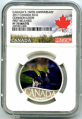 2017 $10 Canada 150Th Annv Loon Silver Proof Ngc Pf70 Matte First Releases
