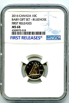 2016 Canada 10 Cent Dime Baby Set Ngc Ms68 First Releases Population Just 12