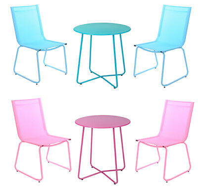 3 Piece Stacking Garden Furniture Chair set 2 Chairs + 1 Table Outdoor Patio