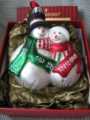 WATERFORD HH Blown Glass 2008 Our First Christmas Snowman Couple Ornament NIB