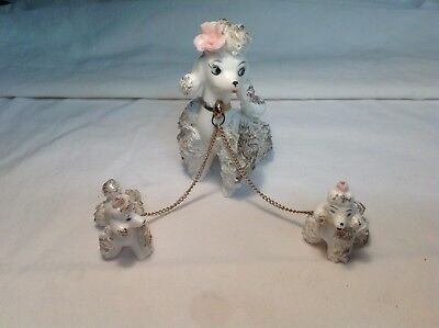 Vintage White Ceramic Spaghetti Poodle Mom & Pups on Chain Lefton ?