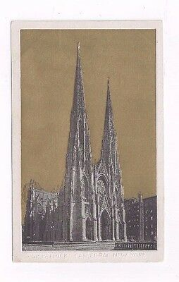 NY old advertising card St Patricks Cathedral Gold Foil A.D. Salkeld Clothing