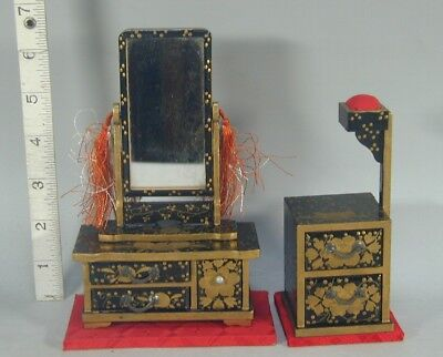 Hina Doll #958 Japanese Antique Miniature Wood Mirror Sewing Box House Furniture
