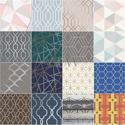 Geometric Wallpaper Modern Decor Triangles Trellis Silver Rose Gold Metallic