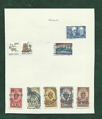 Norway Norge Noreg  old used revenu stamps on album page