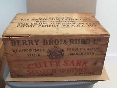 Vintage Whisky Crate Cutty Sark Berry Bros New York 1960