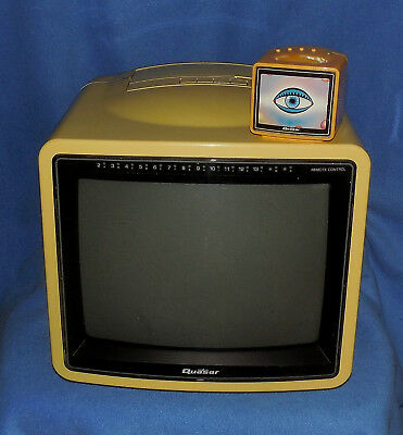 1986 Quasar Portable Color Television With Mini Tv Shape Remote -Tp2156Y -Works!