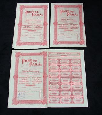 3 x 1918 ORIGINAL PORT OF PARA BRAZILIAN SHARE CERTIFICATES