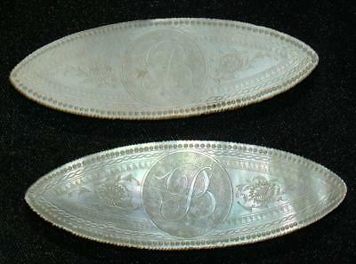 "Armorial ""b"" Oval Carved Mother Of Pearl Chinese Gaming Counters Chips - Lot 11"