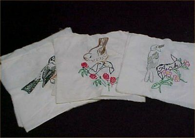 11 Vintage Antique Quilt Block Cotton Fabric Hand Embroidered State Birds 1950s