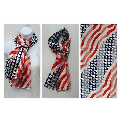 Women's Red White Blue 4th Of July American Flag Scarf Old Glory Star Spangled