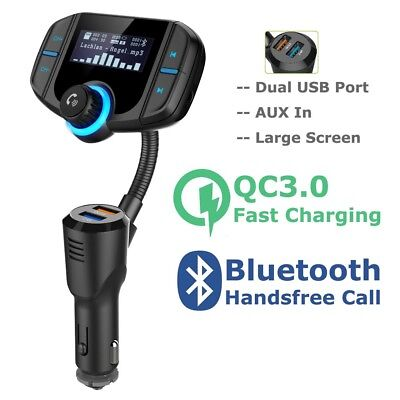 Bluetooth Large Display FM Transmitter MMC MP3 Player Car USB QC3.0 Fast Charger