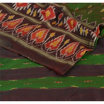 Sanskriti Vintage Saree Woven Patola 5 Yard Sari Fabric Pure Silk Soft Green