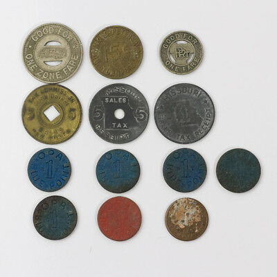 Usa Lot Of 13 Token (Sales Tax, Blue And Red Point, And More)