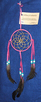 "Native American Dreamcatcher Navajo Indian  4"" dia hoop Hot Pink  #306"