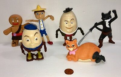 SHREK PUSS IN BOOTS McDonald's Wooden Puppet Humpty Dumpty Kitty Softpaws Lot