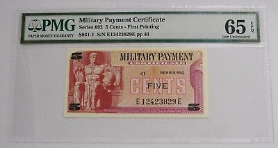 Series 692 - 5 Cents - MPC Military Payment Certificate - PMG GEM UNC 65 EPQ