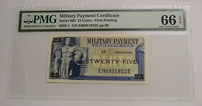 Series 692 - 25 Cents - MPC Military Payment Certificate - PMG GEM UNC 66 EPQ